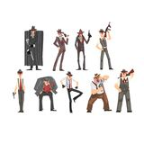 Gangster set, criminal characters in fedora hat with gun vector Illustrations on a white background. Gangster set, criminal characters in fedora hat with gun vector illustration