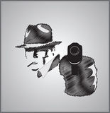 Gangster in shadow with gun. Vector illustration scribble Stock Images
