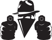 Gangster. In shadow with twoo guns vector illustration Stock Photography