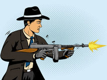 Gangster shoots machine gun pop art vector Stock Photography