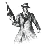 Gangster. Sketch illustration of a man holding a thompson gun Stock Photography
