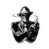 Gangster skull cartoon Stock Photos