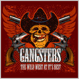 Gangster skull with cowboy hat and pistols Stock Photography