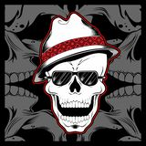 Gangster skull wearing fedora hat hand drawing vector. Hand drawing,Shirt designs, biker, disk jockey, gentleman, barber and many others stock illustration