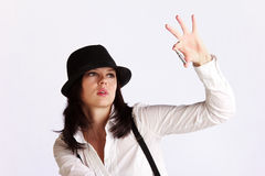 Gangster-style girl with ammo Royalty Free Stock Photo