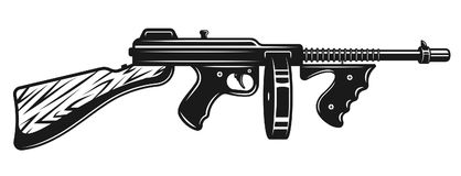 Gangster submachine gun monochrome illustration. Gangster submachine gun vector monochrome illustration isolated on white background Royalty Free Stock Image