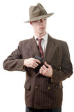 Gangster in a suit vintage, with handgun Royalty Free Stock Photos