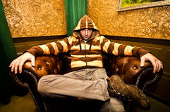 Gangster in vintage interior Stock Photo