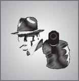 Gangster w cieniu z pistoletem ilustracja wektor
