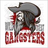 Gangster w retro narysu tle ilustracja wektor