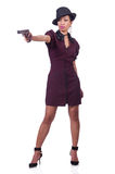 Gangster woman with gun isolated Stock Photo
