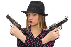 Gangster woman with gun isolated on white Royalty Free Stock Photos