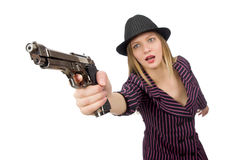 Gangster woman with gun isolated on white Stock Images
