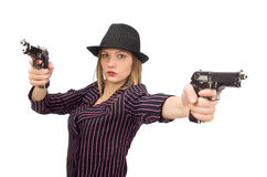 The gangster woman with gun isolated on white Stock Images