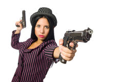The gangster woman with gun isolated on white Royalty Free Stock Photo