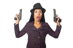 The gangster woman with gun isolated on white Royalty Free Stock Photos