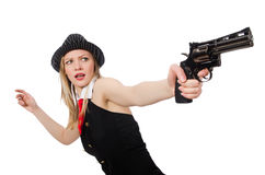 The gangster woman with handgun on white Stock Photography