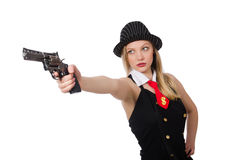 The gangster woman with handgun on white Royalty Free Stock Photos