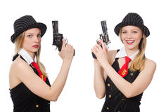 The gangster woman with handgun on white Stock Images