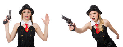 The gangster woman with handgun on white Stock Photo