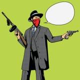 Gangster z armatnim rabunku wystrzału sztuki wektorem royalty ilustracja