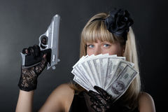 gangsterkvinna Royaltyfri Foto