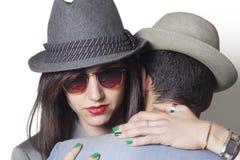 Gangsterpaar die close-up koesteren royalty-vrije stock fotografie