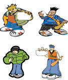 Gangsters. Gangster vector set. street figthters Stock Photography
