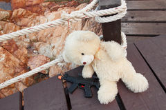 Gangsters bear toys,kid toys. Alone Royalty Free Stock Photos