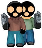 Gangsters in black masks Stock Photo