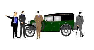 Gangsters in front of vintage car. Gangsters with weapons in front of bullet ridden car Stock Images