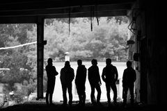 Gangsters outdoors Stock Images
