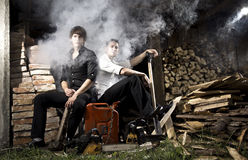Gangsters and smoke. Are sitting in the yard Royalty Free Stock Images