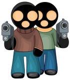 Gangsters in zwarte maskers Stock Foto