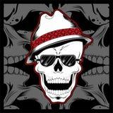 Gangsterschedel die de vector van de de handtekening van de fedorahoed dragen stock illustratie