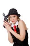 Gangsterska kobieta z pistolecikiem na bielu Obraz Stock