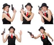 Gangsterska kobieta z pistolecikiem na bielu Zdjęcia Royalty Free