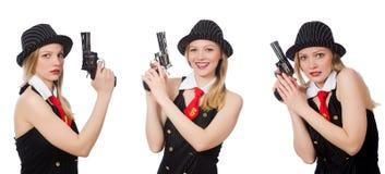 Gangsterska kobieta z pistolecikiem na bielu Obrazy Stock