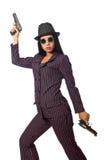 Gangsterska kobieta z pistoletem na bielu Fotografia Stock