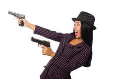 Gangsterska kobieta z pistoletem na bielu Zdjęcie Stock
