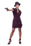 Gangsterska kobieta z pistoletem odizolowywającym Zdjęcie Stock