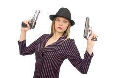 Gangsterska kobieta z pistoletem odizolowywającym na bielu Zdjęcie Stock