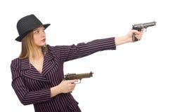 Gangsterska kobieta z pistoletem odizolowywającym na bielu Fotografia Stock