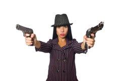 Gangsterska kobieta z pistoletem odizolowywającym na bielu Obraz Stock