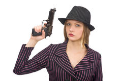 Gangsterska kobieta z pistoletem odizolowywającym na bielu Obrazy Stock