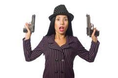 Gangsterska kobieta z pistoletem odizolowywającym na bielu Zdjęcia Royalty Free