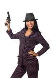 Gangsterska kobieta z pistoletem odizolowywającym na bielu Zdjęcie Royalty Free