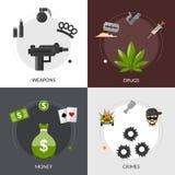 Gangsterski Płaski ikona skład Zdjęcia Royalty Free