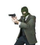 Gangsterskytte med en handeldvapen Royaltyfri Fotografi