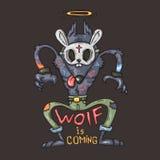Gangsterwolf, Karikaturillustration stockfoto